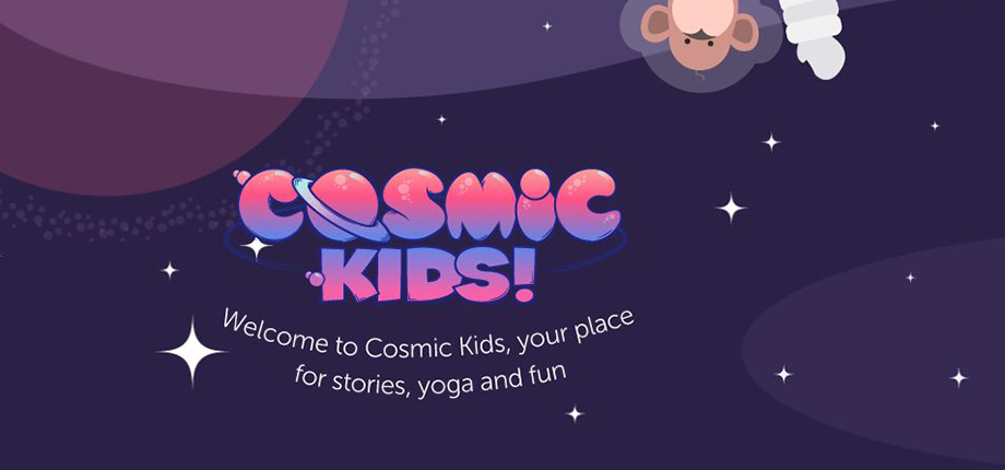 The main header image for the Cosmic Kids yoga series showing a cartoon of stars, a planet, and a monkey wearing a space suit