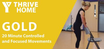 Still image of instructor Sherri Fitzgerald completing the YThrive GOLD 20 Minute Controlled and Focused Movements Workout