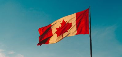 The Canadian flag blowing in the wind