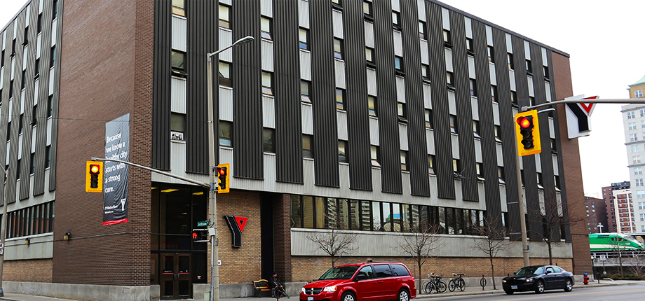 A street-view shot of the YMCA Hamilton Downtown Men's Residence