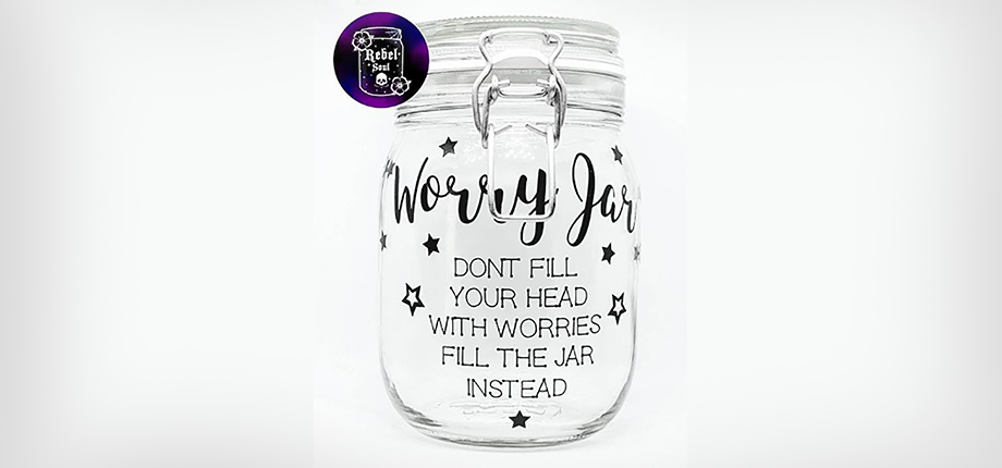 """A worry jar decorated with stars and the text """"Don't fill your head with worries - fill the jar instead"""""""